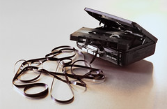 tangled tape and player photo by kickstock