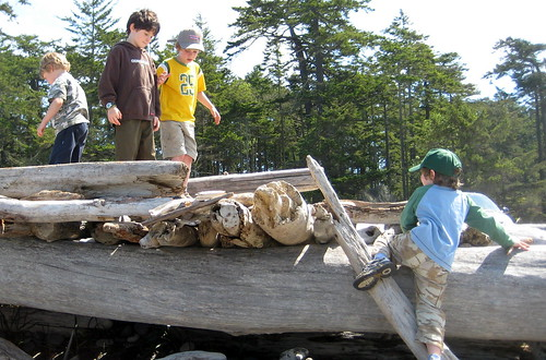 Boys building stuff