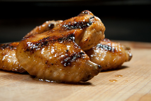 Grilled Honey Mustard Whiskey Injected Chicken Wings