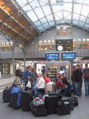 Passengers at Luebeck Hauptbahnhof