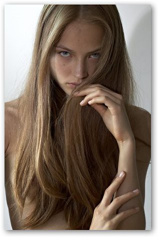Ruslana Korshunova looking thoughtful