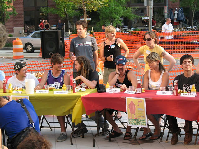 veggie hot dog eating contest some of the contestants in the first ...