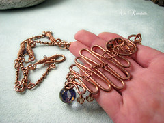 B r i n a - autumn frost - copper necklace - water sapphire, swarovski, glass big bead photo by Gingery Stones - Wired