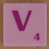 Scrabble pink tile letter V