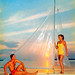 1950s Postcard of Couple on Sailboat at Sunset