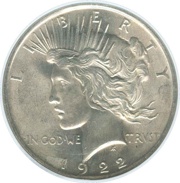 1922 peace dollar ms63 mint state 63 silver dollar