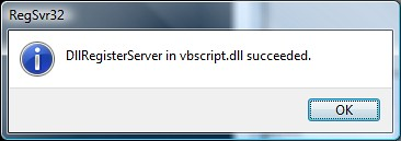 RegSrv32 vbscript.dll Success