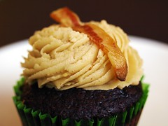 bacon peanut butter chocolate cupcake photo by Broken Sparrow Cakes