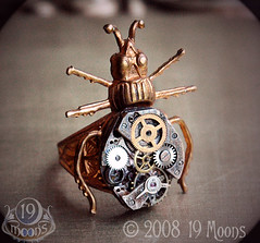 BEETLE MECHANIQUE Vintage Watch Ring by 19 Moons STEAMPUNK 3/4 View photo by 19moons