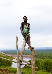 Karo boy in front of Omo river Ethiopia photo by Eric Lafforgue