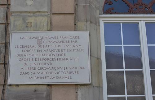 Franche Comté - Plaque à la Mairie de Giromagny - Crédit photo Thierry Marline, AHPSV- mars 2014