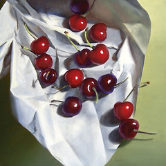 Cherries on Crumpled Paper photo by nance danforth painting studio