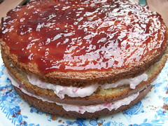 almond sponge cake filled w/ raspberry cream