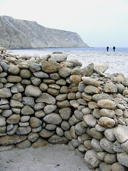 Remains of stone shelter, Playa Blanca, North Chile