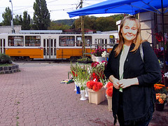 Cathy at the Farkasreti Cemetery Flower Market