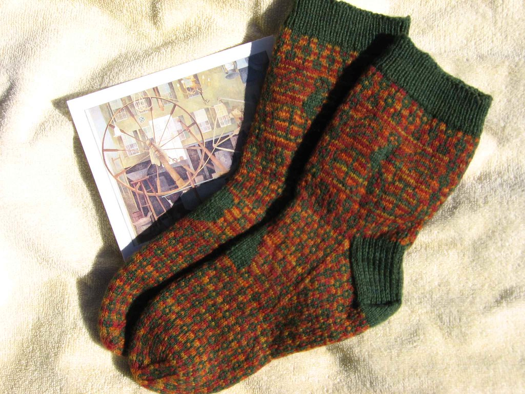 Photo of spinning wheel card and Sockapal-2-za socks