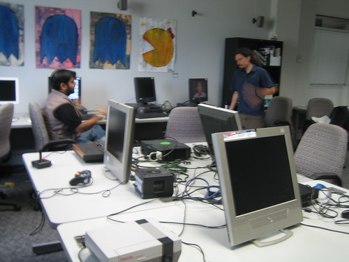 Michael Mateas talking to Manu in the Experimental Game Lab