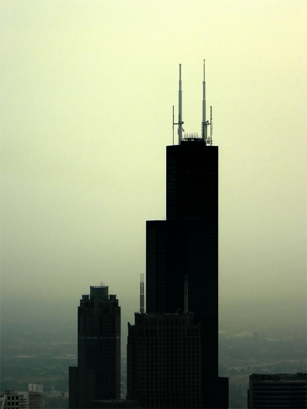 sears tower at sunset