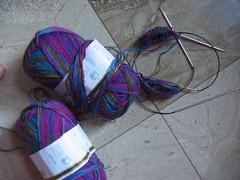 Tw socks on two circulars