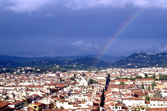 Florence, Italy with rainbow