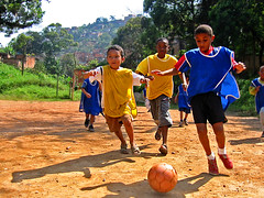 Kids of the Morro de Macaco enjoy a game of football