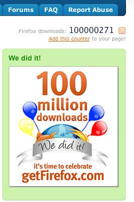 copie d'écran du site spreadfirefox.com indiquant 100 millions de téléchargements