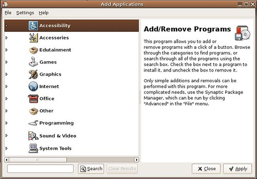 Ubuntu Add/Remove Programs