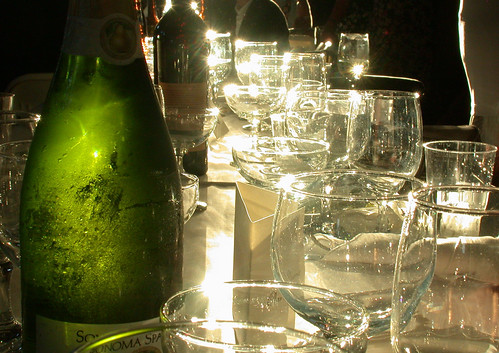 Light on wine glasses