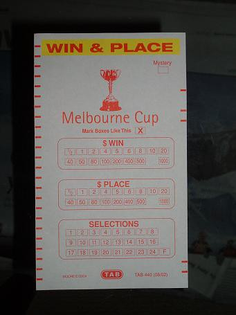 TAB betting form for the Melbourne Cup 2005