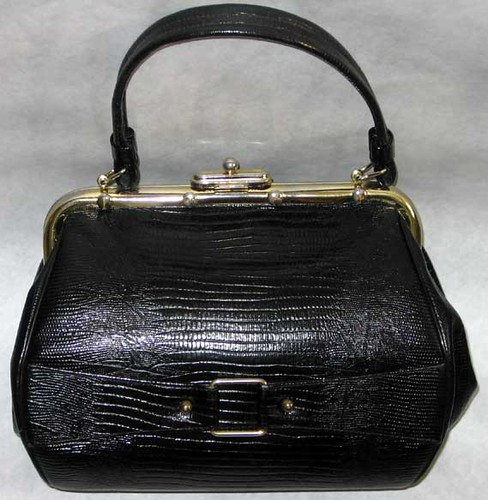 Coquette NY black leather faux-croco purse with buckle