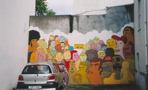 Wall art mural of peeps