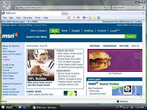 그림 6 - Windows Internet Explorer 7