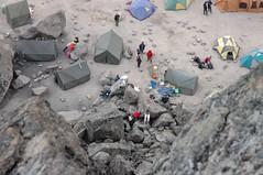 Het kamp onder Lava Tower en de rest van onze groep