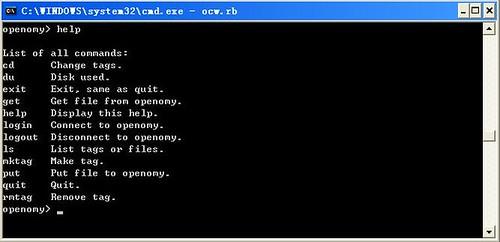 Openomy Command Window