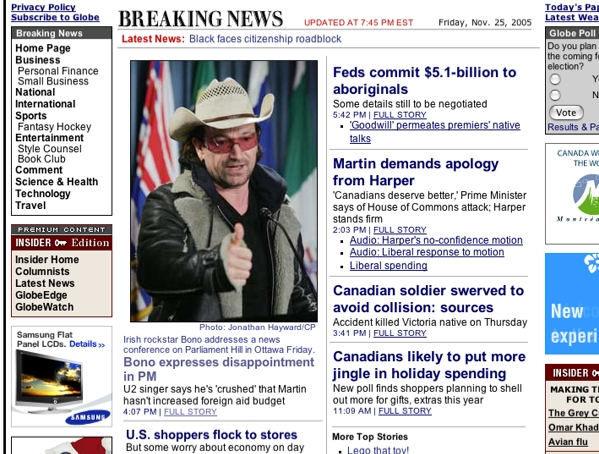 Globe and Mail, November 25th 2005