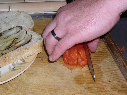 Slicing the tomatoes