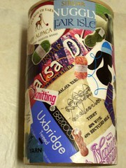 Decoupage utensil holder - three views