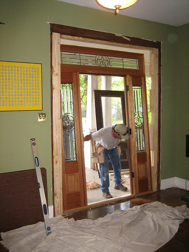 Positioning the new door frame