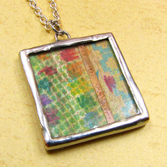 Rainbow Palette Double Sided Collage Pendant :: Front photo by Vickie @ In My Head Studios