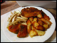 Chicken Schnitzel w/ Roast Potatoes, Pumpkin & Fennel Salad photo by Cheeky Shel