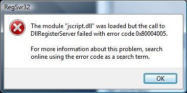 RegSrv32 jscript.dll Error