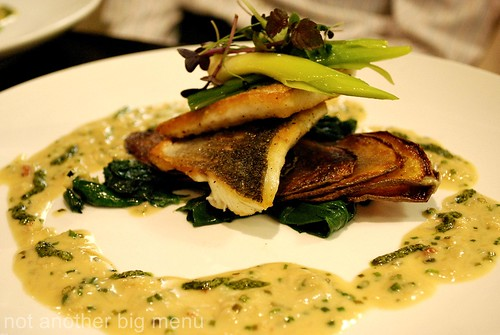 Crisp fillet of sea bass, veloute of crab, crisp potato rosti £19