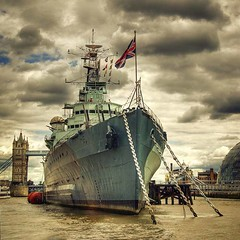 HMS Belfast, with Tower Bridge and City Hall in the background photo by louisahennessysuɹoɥƃuıʞıʌ