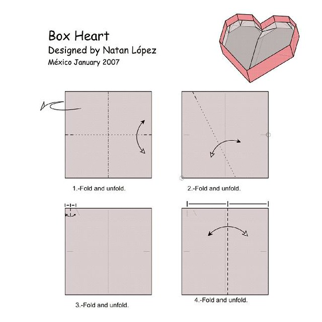 NET Links Origami Diagrams On The Web ORIGAMI HEART BOX DIAGRAM