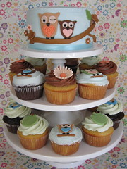 Owl Cake and Cupcakes photo by jdesmeules (Blue Cupcake)