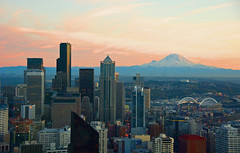 Mt.Rainier eclipsing Seattle downtown from Space Needle photo by WorldofArun