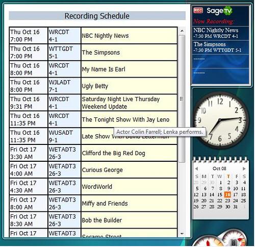SageTV Vista SidebarGadget