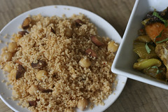 Vegetable Tagine with Almond and Chickpea Couscous