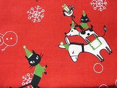 Cute Japanese Cotton Christmas Fabric-Cute Animals And Santa Claus Hat-Shinzi Katoh photo by kawaii_fabric_and_paper