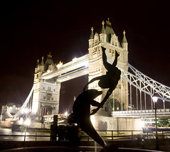 Tower Bridge and Girl with Dolphin Statue, London. photo by Theresa Elvin
